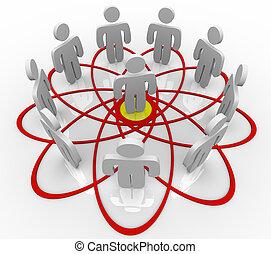 centro, pessoas, muitos, um, diagrama, pessoa, venn
