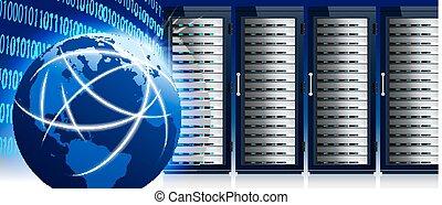 centro, rede, comunicação, global, servidor, internet, mundo, dados, prateleiras, tecnologia
