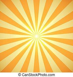 centro, scoppio, luce, bagliore, giallo, vettore, fondo, sole