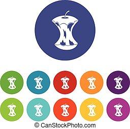centro, set, mela, icone