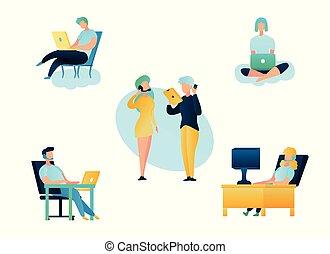 centro, sostegno, illustrazione, chiamata, deposito linea