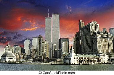 centro, torres, encima, cielo, colores, comercio, gemelo,...