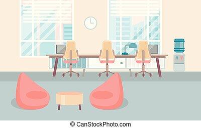 centro, ufficio, università, moderno, posto lavoro, scrivania, interno, co-working, vuoto