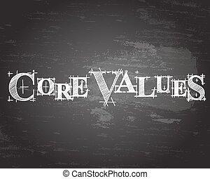 centro, valori, parola, lavagna