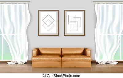 centro, vida, sofá, sitio moderno, windows, grande, interior