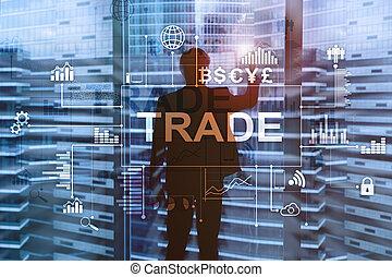 centrum, úřad, graf, svícen, rozmazaný, grafické pozadí., obchodovat, diagram, kmen
