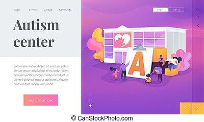 centrum, concept, pagina, tussenverdieping, autisme