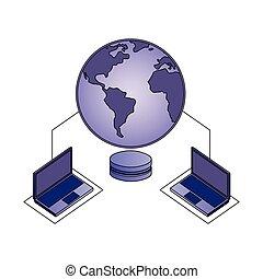 centrum, databank, laptops, verbinding, veiligheid, data, netwerk