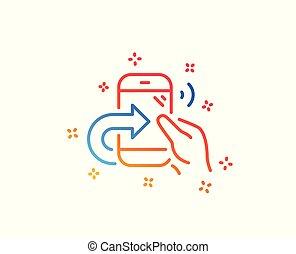 centrum, dienst, teken., aandeel, telefoon, vector, roepen, lijn, icon.