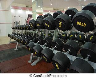 centrum, dumbbells, werkende , oefening, fitness, uit