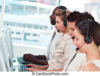 centrum, hold, arbejder, hidkalde, unge