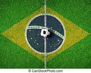 centrum, i, soccer, eller, fodbold beg, hos, flag, i, brasilien