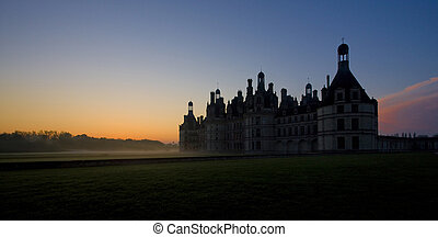 centrum, kasteel, zonopkomst, chambord, frankrijk