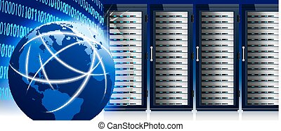 centrum, netværk, kommunikation, globale, server, internet, verden, data, racks, teknologi