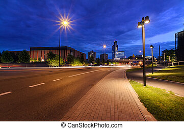 Centrum of Katowice in the evening time.