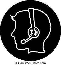 centrum, pictogram, roepen, uitvoerend