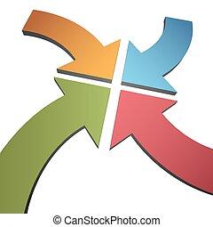centrum, punt, kleur, bocht, pijl, convergeren, vier, 3d