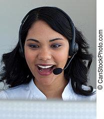 centrum, roepen, ethnische , businesswoman