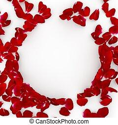 centrum, ruimte, roos, verspreid, floor., kroonbladen, ontwerp, rood, jouw, lege