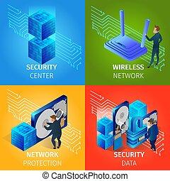 centrum, veiligheid, data, set, draadloos, banieren, netwerk