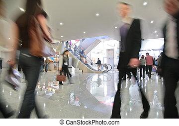 centrum, zakelijk, beweging