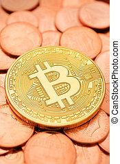 cents, doré, bitcoin