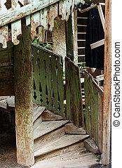 centuries, 18-19, altes , treppenaufgang, häusser, georgia, ...