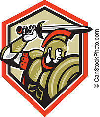 Illustration of centurion roman soldier gladiator attacking with a sword and shield viewed from side set inside crest done in retro style on isolated background.