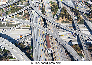 Century Harbor Freeway interchange intersection junction Highway Los Angeles roads traffic America city aerial view photo