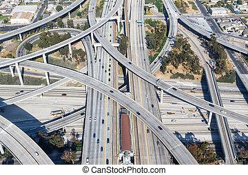 Century Harbor Freeway interchange intersection junction Highway Los Angeles roads traffic America city aerial top view photo