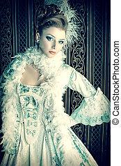 century - Portrait of the elegant woman in medieval era...