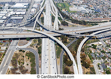 Century San Diego Freeway interchange intersection junction Highway Los Angeles roads traffic America city aerial top view photo