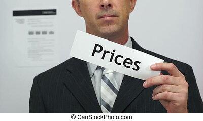ceny, biznesmen, pojęcie, skaleczenia