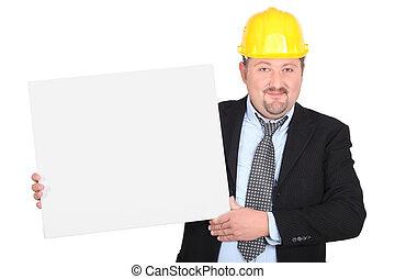 ceo, 会社, 建設, 白, 提示, パネル