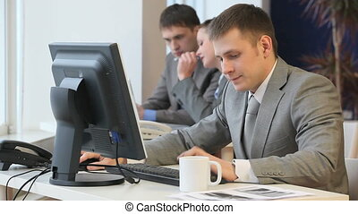 CEO - Boss working and calling against the background of...