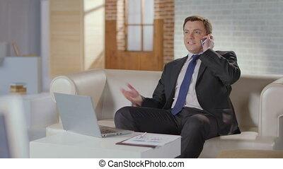 """""""ceo, capo, fabbricazione, telefono, call., lusso, ufficio, uomo affari, a, work"""""""