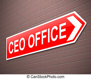 CEO concept. - Illustration depicting a sign directing to...