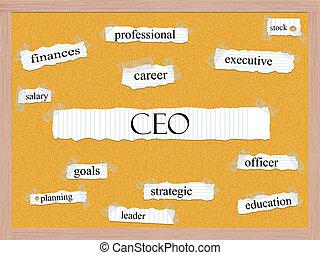CEO Corkboard Word Concept