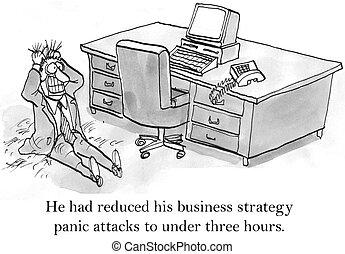 ceo, kap, pánik, támad, körülbelül, ügy stratégia