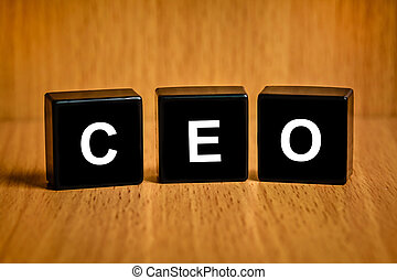 CEO or chief executive officer word on black block - CEO or ...