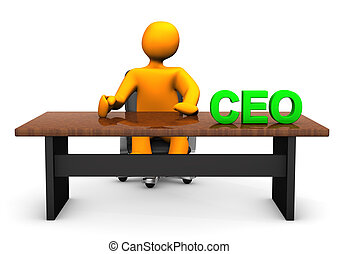 CEO Table - Orange cartoon character as CEO with table. With...