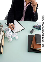 ceo trying to write something in an office
