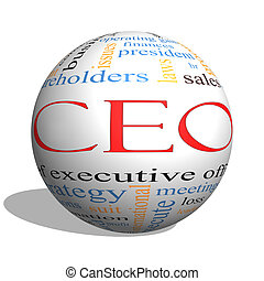 CEO Word Cloud Concept on a 3D Sphere with great terms such...