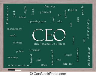 CEO Word Cloud Concept on a Blackboard
