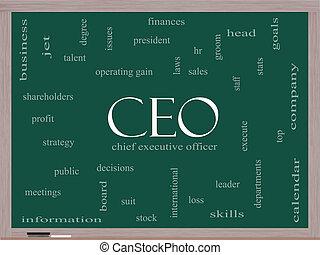 CEO Word Cloud Concept on a Blackboard