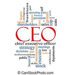 CEO Word Cloud Concept with great terms such as operating gain, execute, leader and more.