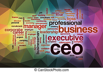 CEO word cloud with abstract background