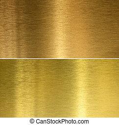 cepillado, bronce, y, latón, cosido, texturas