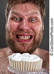 cepillado, feo, dientes