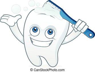 cepillado, mascota, caricatura, diente, dientes
